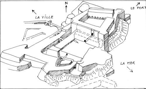 La forteresse Priamar à Savone (Italie) d'après une vue oblique aérienne de Microsoft virtual earth 2007 (dessin RCourtot)