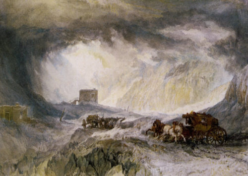 "William Turner: ""Tempête de neige, Mont-Cenis"", 1820, Birmingham museum and art gallery, n°1953P409 (image Wikiart)"