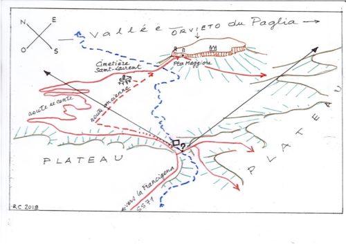 """La scène du tableau """"vue d'Orvieto"""" de William Turner: croquis panoramique aérien SO/NE embrassant le paysage du plateau volcanique, de la mesa de la ville d'Orvieto (Italie) et de la vallée du rio Paglia -dessin RCourtot"""