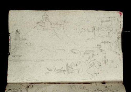 Turner Tate D21754 (TB CCXXXVII 56): Turin La rive gauche du Pô devant la ville, vue de l'aval vers le Monte dei Cappuccini (Santa Maria): barques de rivière au premier plan, pont sur le Pô et statue de Victor Emmanuel 1er (détail d'une tour du rempart en haut à droite)