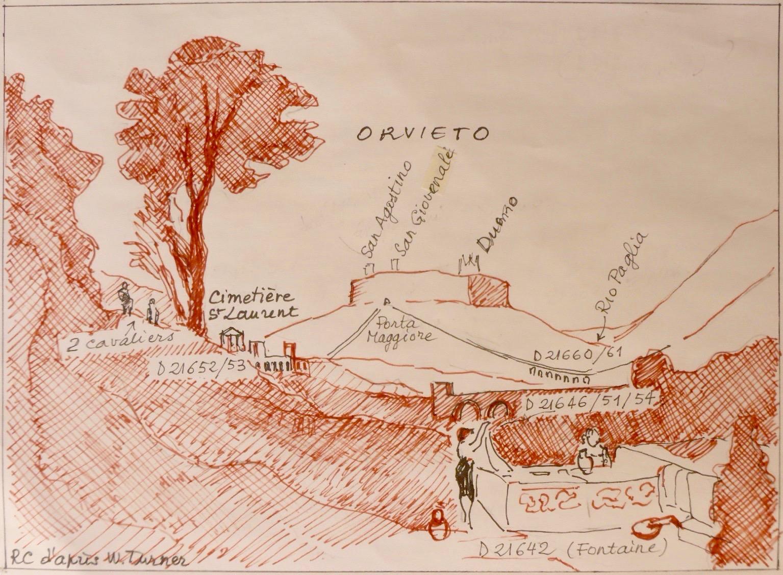 """Croquis explicatif de la """"Vue d'Orvieto"""" de William Turner, dessin par RCourtot: les éléments de la composition de l'oeuvre, tirés du carnet de voyage TB CCXXXIV sont indexés par leur numéro du catalogue de la Tate gallery (D...)"""
