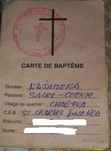 Carte de baptême de l'Eglise Evangelique du Tchad.