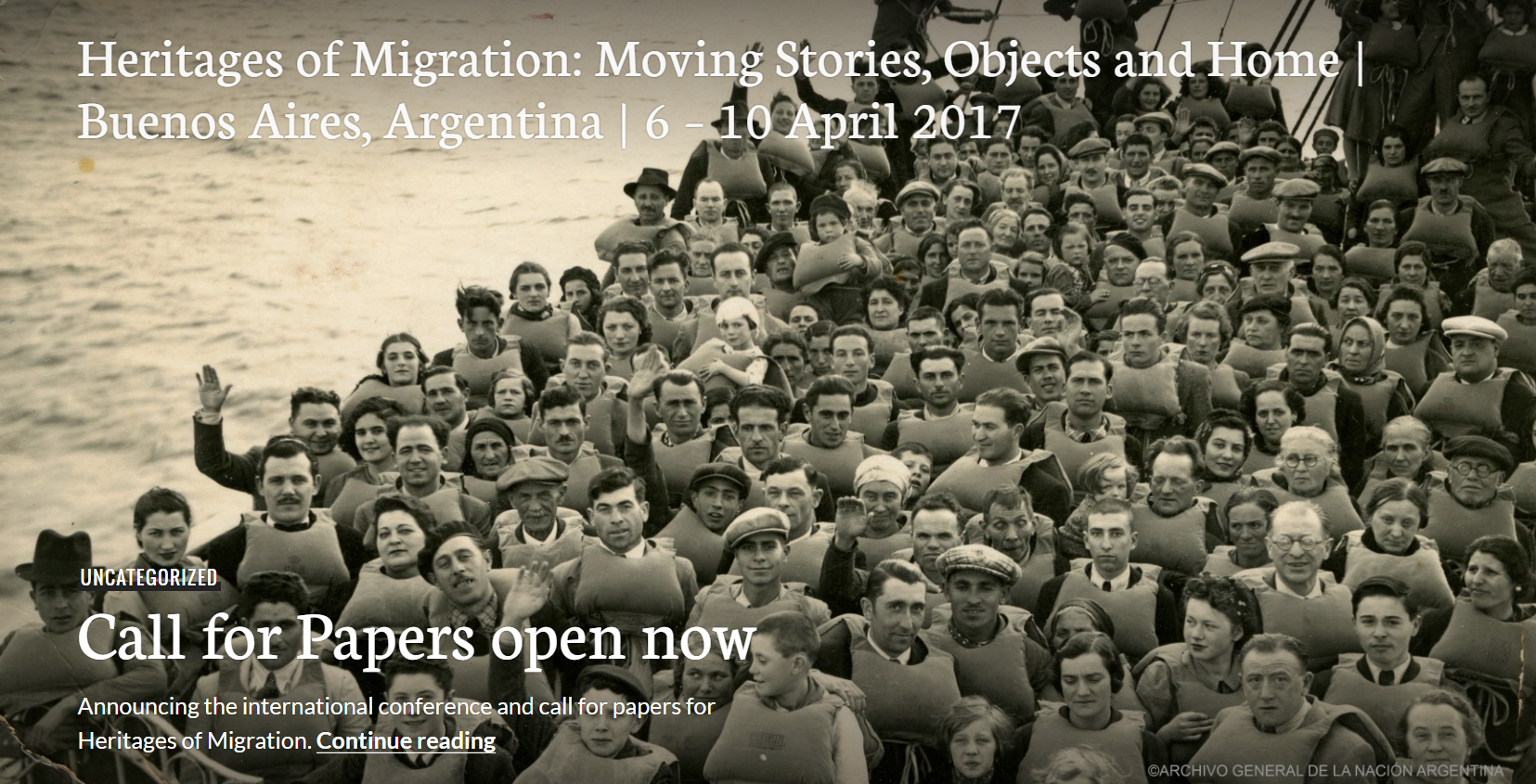 CFP Heritages of Migration : Moving Stories, Objects and Home. Buenos Aires Avril 2016