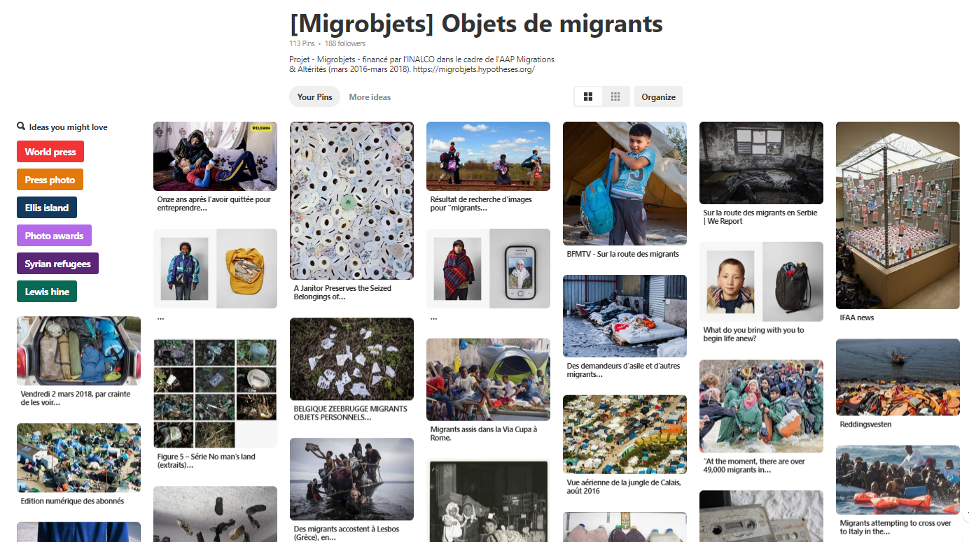 Pinterest, Objets de migrants