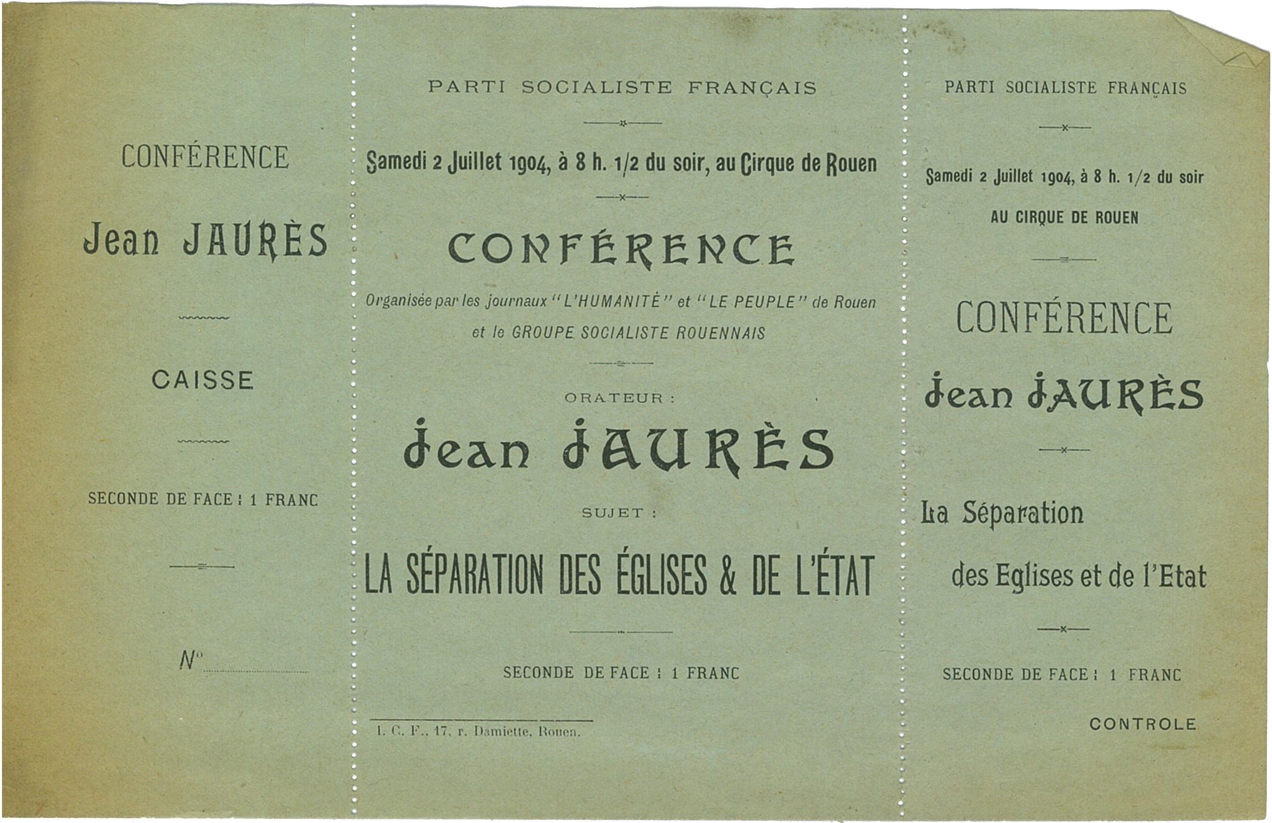 Billet 06. Brochure de présentation de la Conférence par Jean Jaurès à Rouen le samedi 2 juillet 1904.