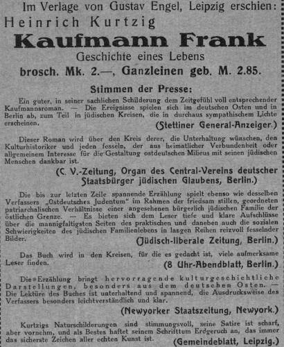 Kurtzig_Kaufmann-Frank_REzensionen-jüdische