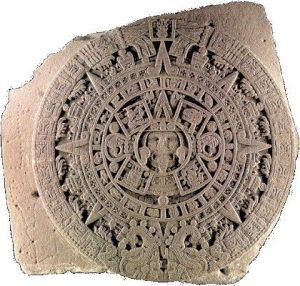 """""""Stein der Sonne"""" – eine Skulptur aus der Azteken-Zeit im Nationalmuseum für Anthropologie in Mexiko-Stadt."""