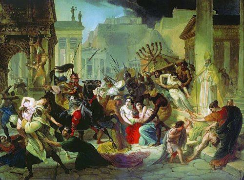 Die Vandalen plündern Rom, Darstellung des russischen Malers Karl Pawlowitsch Brjullow aus dem 19. Jahrhundert, gemeinfrei, https://commons.wikimedia.org/w/index.php?curid=3905581.