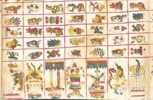 Ausschnitt des Codex Borgia. Aufgrund des Alters ist das Werk in den USA gemeinfrei.