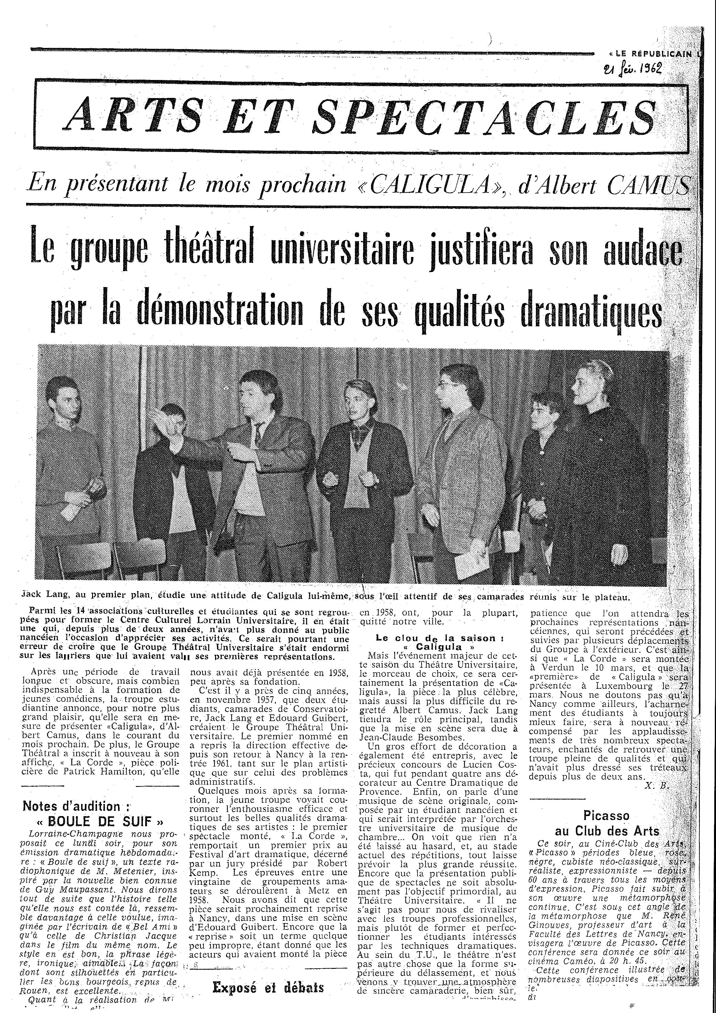 Figure 2. Article tiré du Républicain Lorrain, le 21 février 1962. Archives de Meurthe-et-Moselle, cote du document : 68J9.