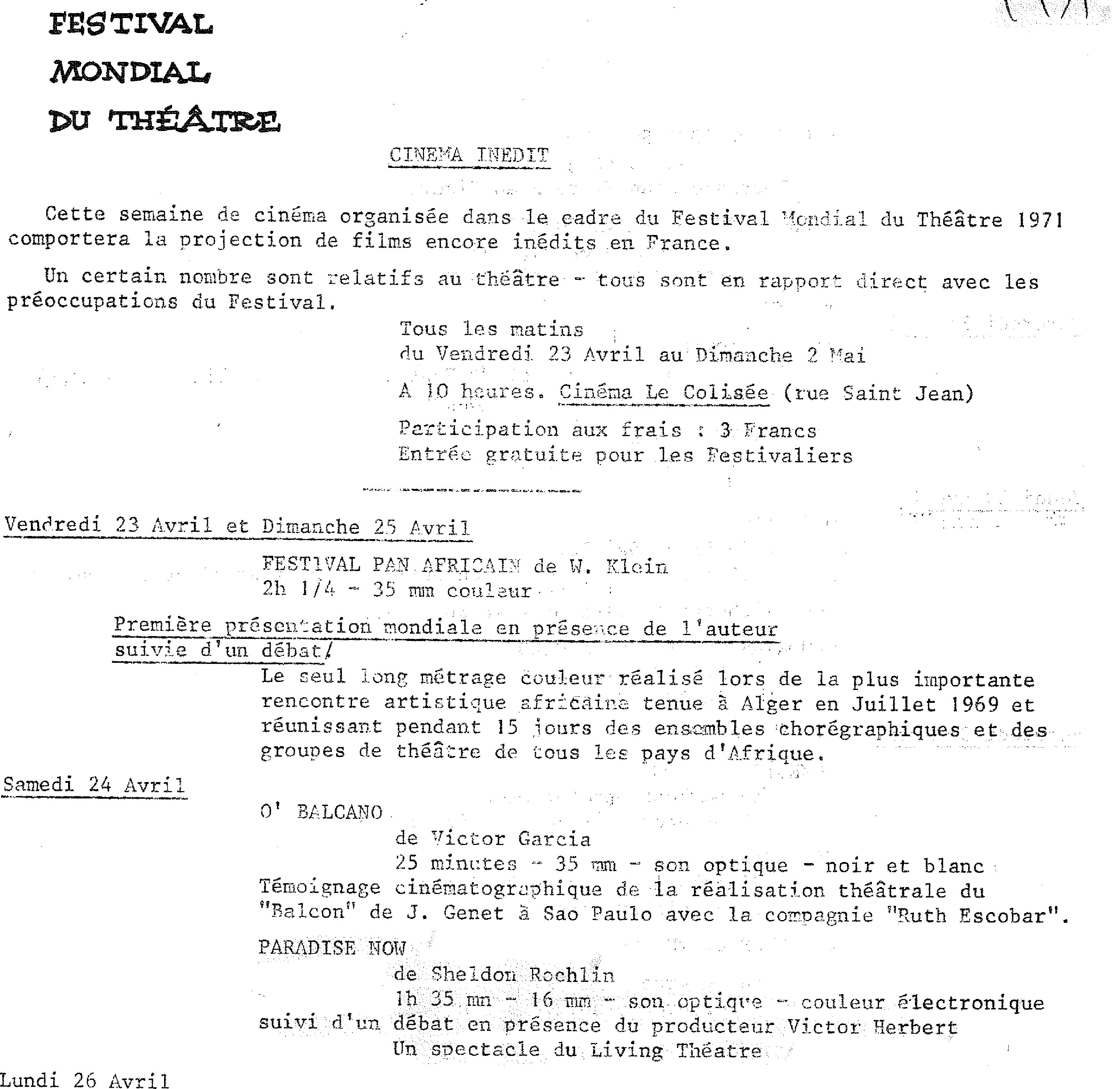 Figure 5. L'extrait du programme du festival en 1971. Le 24 avril 1971 - la projection de Paradise Now de Living Theatre. Archives de Meurthe-et-Moselle, cote du document : 68J9.
