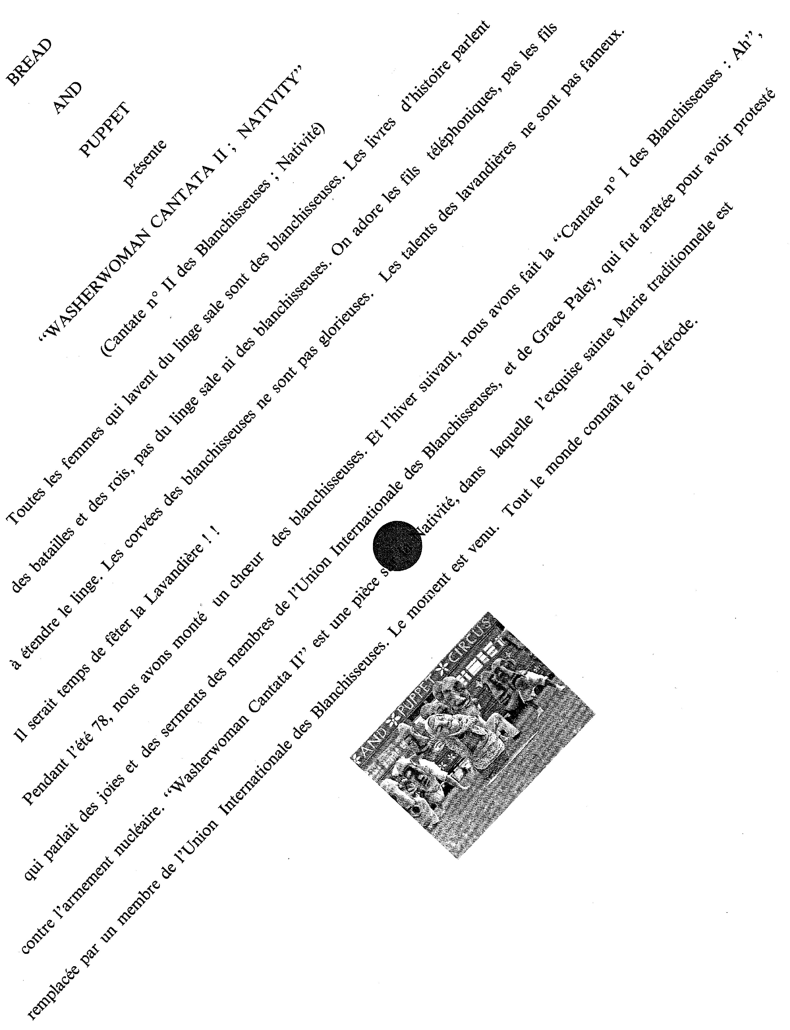 Figure 6. Bread and Puppet Theatre, Washerwoman Cantate II ; Nativity, 1979. Archives de Meurthe-et-Moselle, cote du document : 68J9.