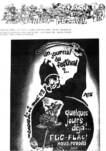 Figure 9. La couverture du Journal du Festival, n° 5, le 2 mai 1973. Archives de Meurthe-et-Moselle, cote du document : 68J9.