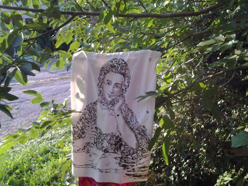 Portrait de Madame du Châtelet exécuté sur un sac de riz par l'artiste Silvio Morelli
