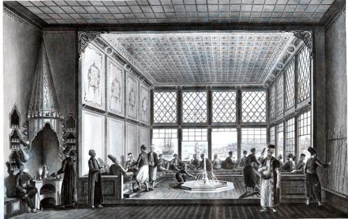 Fig. 3. Constantinople, café avec vue sur la Corne d'Or, fin 18e