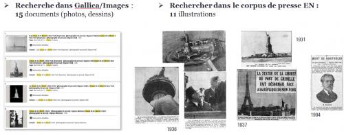 Figure 20. Recherche d'illustrations « statue de la liberté » (exemples) : (1), (2), (3), (4), (5)