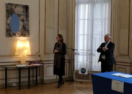 Laurence Engel, présidente de la Bibliothèque nationale de France et Antoine Petit, président-directeur général du CNRS, Paris, CNRS, Salon d'honneur