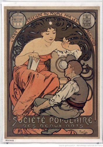 Société Populaire des Beaux-Arts. L'Art enseigné au peuple par les projections : [affiche] / Mucha