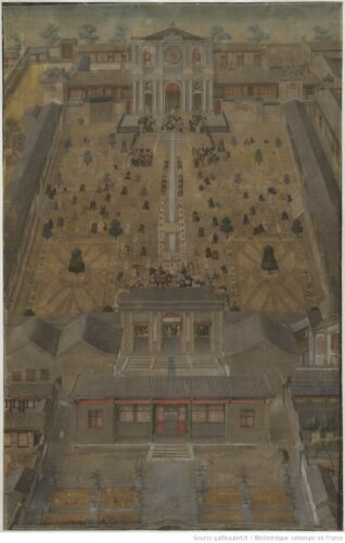 Figure 1. « Église du Beitang en vue plongeante, avec personnages en procession dans les jardins du Palais impérial », Pékin, vers 1701-1703. Département des Estampes et de la photographie, Bibliothèque nationale de France