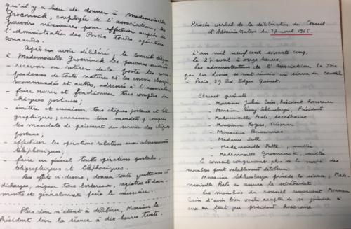 Procès-verbal de la délibération du conseil d'administration de l'association  la Joie par les livres (2019/024/1/1) . © BnF, archives administratives
