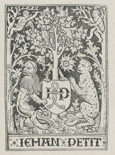 Marque de libraire de Jean Petit (n° 881), extraite de Philippe Renouard, Les marques typographiques parisiennes des XVe et XVIe siècles, Paris: H. Champion, 1926, p. 283.