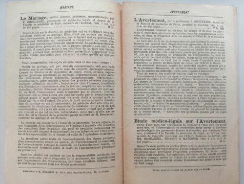 Double-page issue d'un catalogue de la librairie J.-B. Baillière, 1901