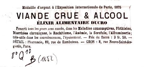 Réclame pour l' « Elixir Ducro » issu du Catalogue Baillière coté 8 Q10B 1852