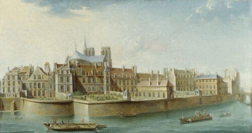"""Nicolas-Jean-Baptiste Raguenet (1715-1793). """"Le cloître Notre-Dame vu de la Grève, 1753"""". Huile sur toile. Paris, musée Carnavalet."""