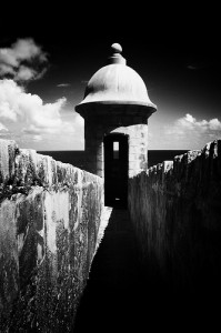 Guerita black and white. A guard post in San Juan Puerto Rico