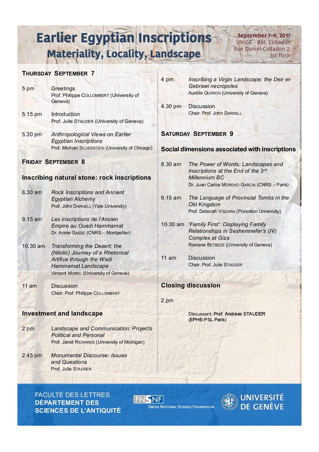 International Workshop – 'Earlier Egyptian Inscriptions: Materiality, Locality, Landscape'