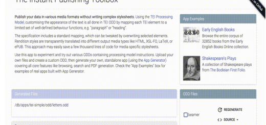 TEI Processing Model Toolbox for eXist DB