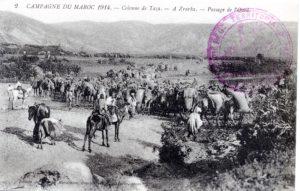 Campagne du Maroc 1914 - Colonne de Taza à Zrarka, passage de l'oued