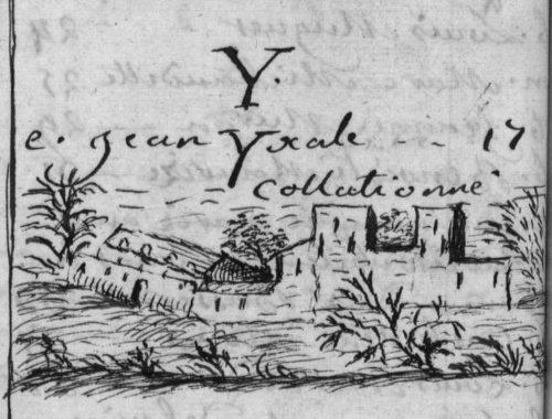 Vue du quai des Célestins ? fin de table annuelle de 1754, paroisse Sainte-Croix.