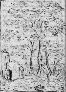 Des arbres et une église, fin de table annuelle de 1756, paroisse Sainte-Croix.