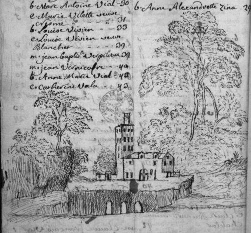 Un pont et une église, fin de table annuelle 1757, paroisse Sainte-Croix.