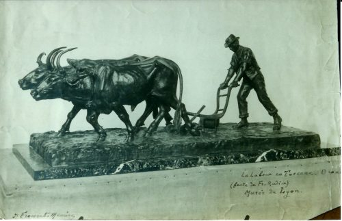 Le Labour en Toscane, bronze, Jacques Froment-Meurice. Reproduction d'une photographie [d'Eugène Druet ?], collection privée