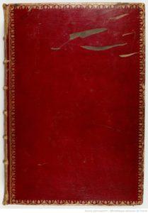 Reliure en maroquin rouge à grains longs (v. 1810 ?), sur Chronique de Nuremberg, BnF, Estampes, Réserve Qe-55-fol.