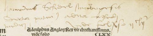 Note marginale sur l'auteur du texte (XVIe s.)