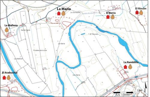 Fig. 7 — Répartition des ateliers et des villae/huilerie du Haut —Empire dans la zone de La María (Lora del Río). Doc. Q. Desbonnets, LabEx Archimede del. 2016.