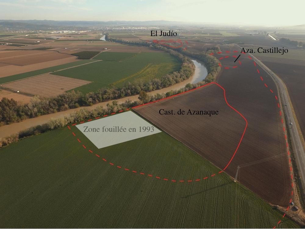Fig. 6 — Vue aérienne prise du sud-ouest des ateliers de la zone Azanaque/El Judío (Lora del Río) sur la rive gauche du Guadalquivir. Doc. V. Lauras et Q. Desbonnets, LabEx Archimede del. 2017.