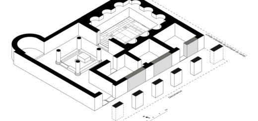 Fig. 5 - Maquette tridimensionnelle de l'édifice monumental (étude de travail de S. Dubourg, IRAA sur le relevé de Ch. Louvion).