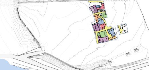 Fig. 1 - Plan de la zone emmuraillée avec individualisation des constructions (©Projet Albalat 2017).