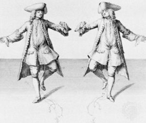 "La danse ""Chaconne"" Di Engraving by H. Fletcher - Kellom Tomlinson's The Art of Dancing, 1735. Victoria and Albert Museum, London, England., Pubblico dominio, https://commons.wikimedia.org/w/index.php?curid=17761291"