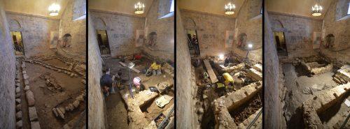 Vues de la sacristie en cours de fouille et à la fin de l'opération (© SDA 04)
