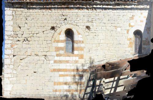 Photographie redressée du mur sud de la chapelle