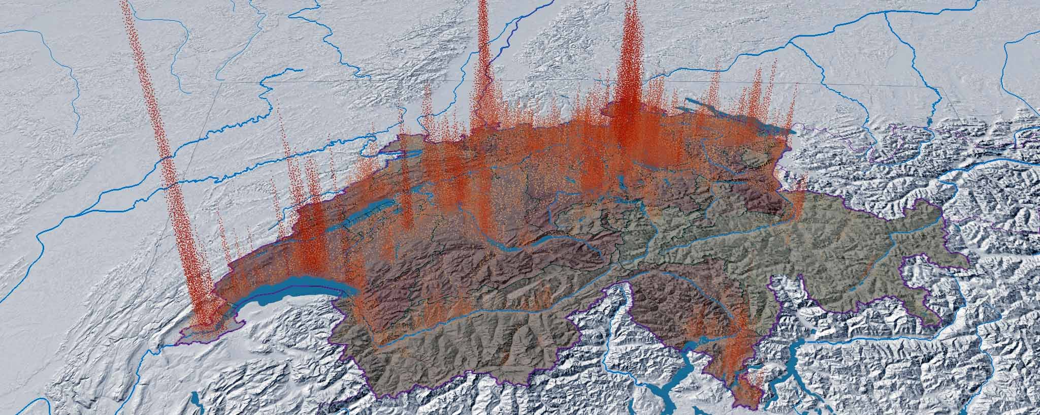 Screenshot aus dem Atlas der Schweiz. die modellierte Bevölkerungsdichte wird als Punktwolke dargestelllt, die Bevölkerungsdichte auf Kantonebene in Form einer transparent über die Reliefschattierung gelegte Chloroplethenkarte. (Quelle: Atlas der Schweiz