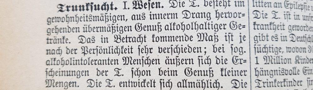 """Lexikoneintrag """"Trunksucht"""" (Ausschnitt), aus: Lexikon der Pädagogik, 1917"""