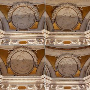 Die Fresken im Europäischen Lesesaal der Library of Congress zeigen die vier Elemente Erde, Wasser, Luft, Feuer