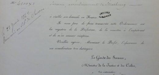 Übersendung der Niederlassungserlaubnis für François Alexandre d'O., 20.06.1849 (Archives départementales du Bas-Rhin, Strasbourg; 8M60)