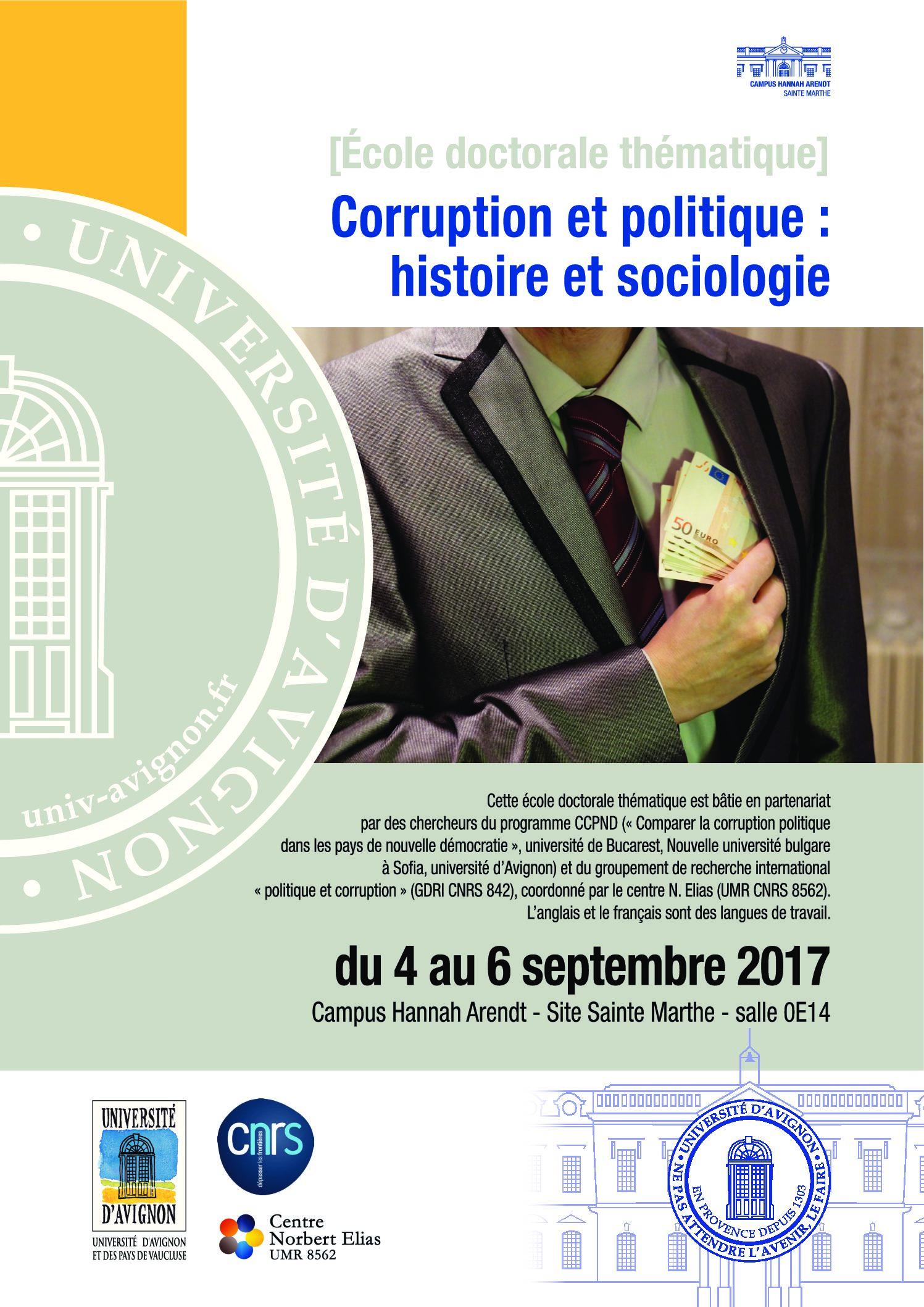 [Ecole doctorale thématique] Corruption et politique : histoire et sociologie
